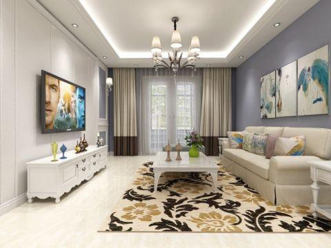 客厅米色窗帘美式风格装饰图片