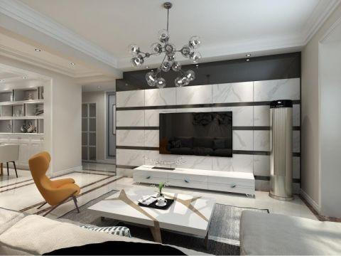 客厅白色背景墙现代风格装饰设计图片