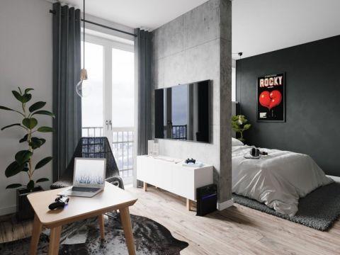 利港银河广场现代风格单身公寓装修效果图