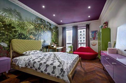 卧室彩色背景墙北欧风格装潢图片