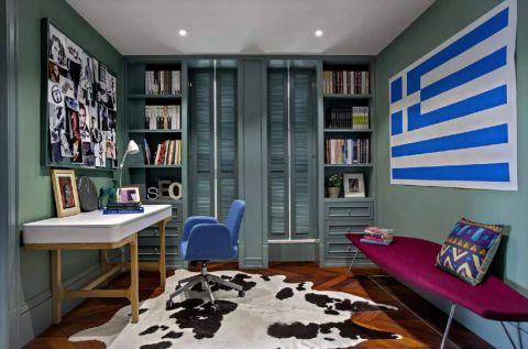 书房绿色背景墙北欧风格装修设计图片
