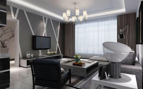 客厅灰色背景墙现代风格装潢设计图片