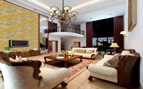 客厅红色窗帘新古典风格装饰图片