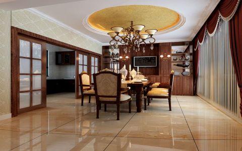 餐厅咖啡色推拉门新古典风格装潢图片