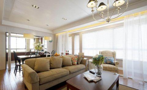 客厅白色窗帘美式风格效果图