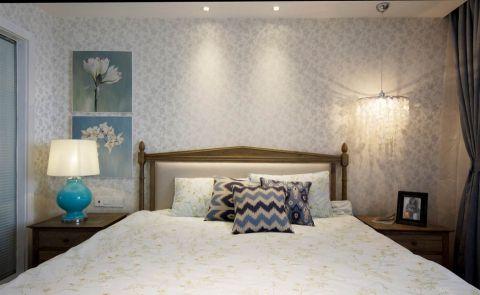 卧室白色背景墙美式风格装潢效果图