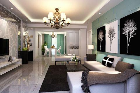 客厅绿色背景墙现代风格装饰设计图片