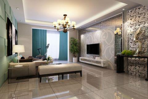 客厅蓝色窗帘现代风格装潢设计图片