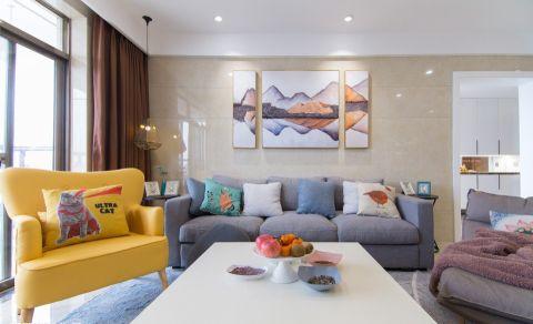 客厅米色背景墙混搭风格装修设计图片