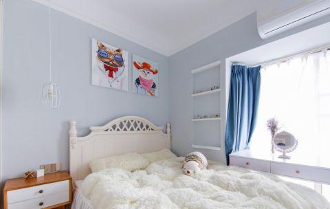 卧室蓝色背景墙混搭风格装饰图片