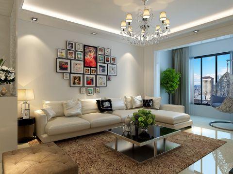 客厅白色照片墙现代简约风格效果图