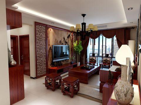 客厅黄色背景墙中式风格装潢效果图