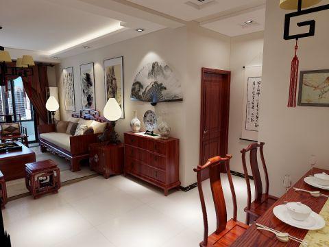 客厅白色走廊中式风格装修图片