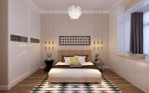 卧室白色飘窗装潢实景图