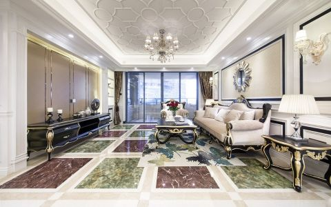 客厅白色吊顶欧式风格装潢设计图片
