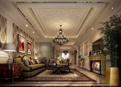 客厅米色吊顶简欧风格装修图片