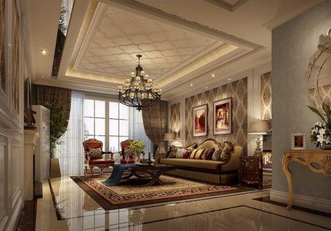 客厅咖啡色窗帘简欧风格装潢图片