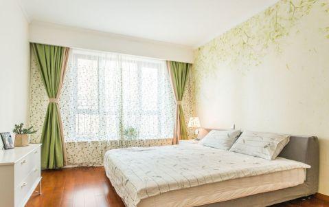 卧室绿色窗帘混搭风格装潢图片