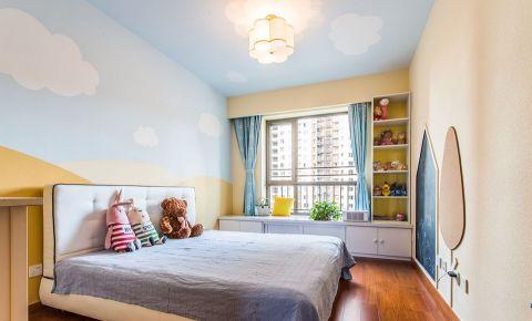 卧室蓝色吊顶混搭风格装潢设计图片