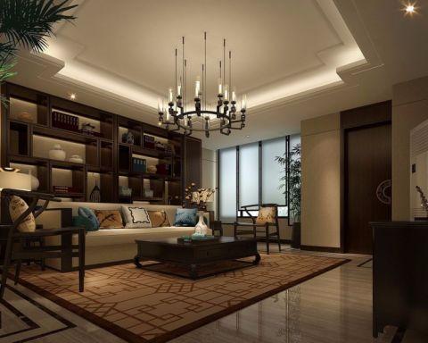 客厅咖啡色博古架中式风格装修效果图