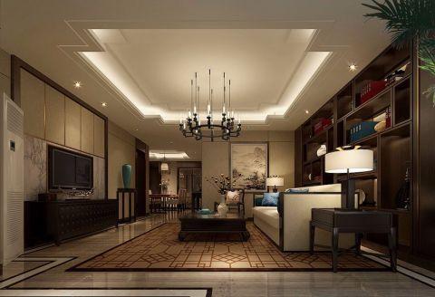 客厅米色吊顶中式风格装饰效果图