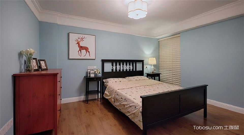 儿童房蓝色背景墙混搭风格装饰图片