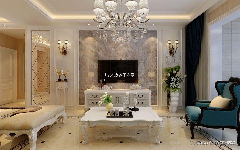 简欧风格120平米套房房子装饰效果图-土拨鼠装修效果图图片