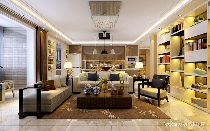 现代简约风格170平米3房2厅房子装饰效果图