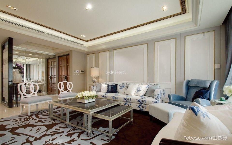 海棠花园新中式风格三室一厅效果图