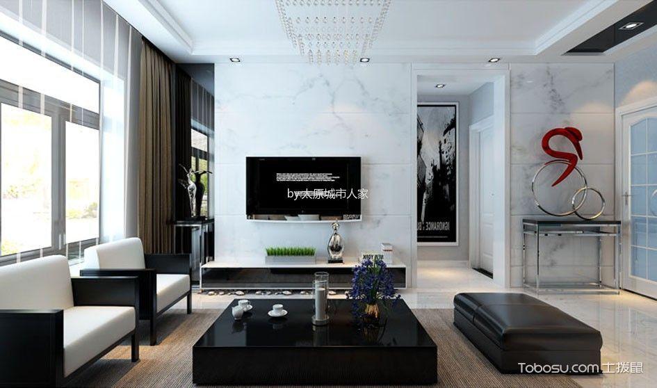 阳光揽胜106平米现代简约三居室装修案例