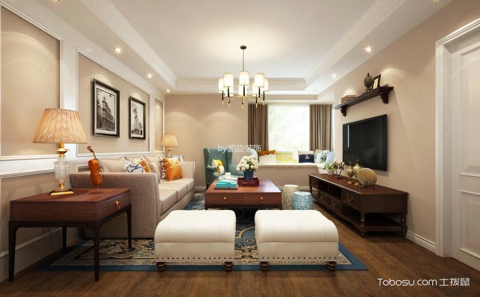 美式风格135平米3房2厅房子装饰效果图