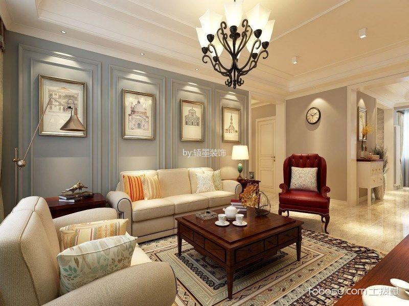 客厅 背景墙_美式风格140平米三四房两厅新房装修效果图