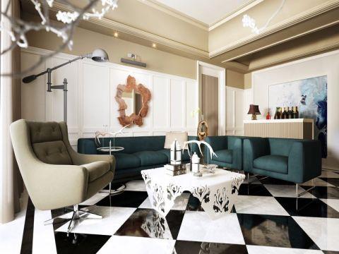 后现代风格120平米三室两厅室内装修效果图