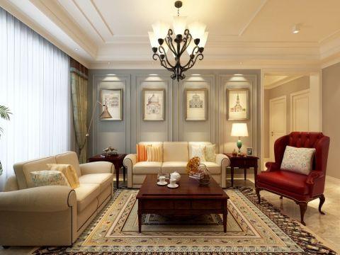 高速滨湖时代广场美式风格四居室装修效果图