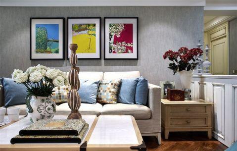 美式风格78平米两室两厅室内装修效果图