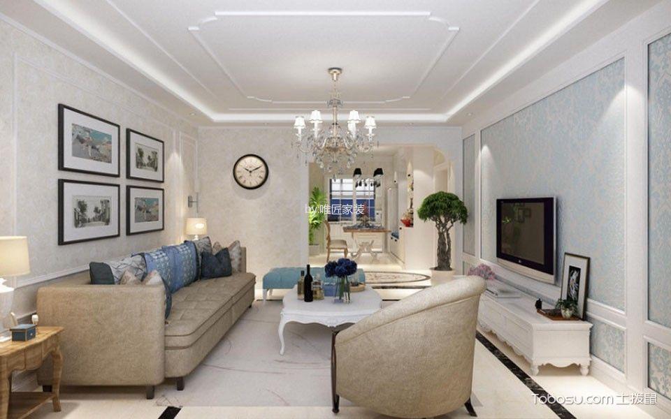 客厅白色吊顶简欧风格装潢效果图图片