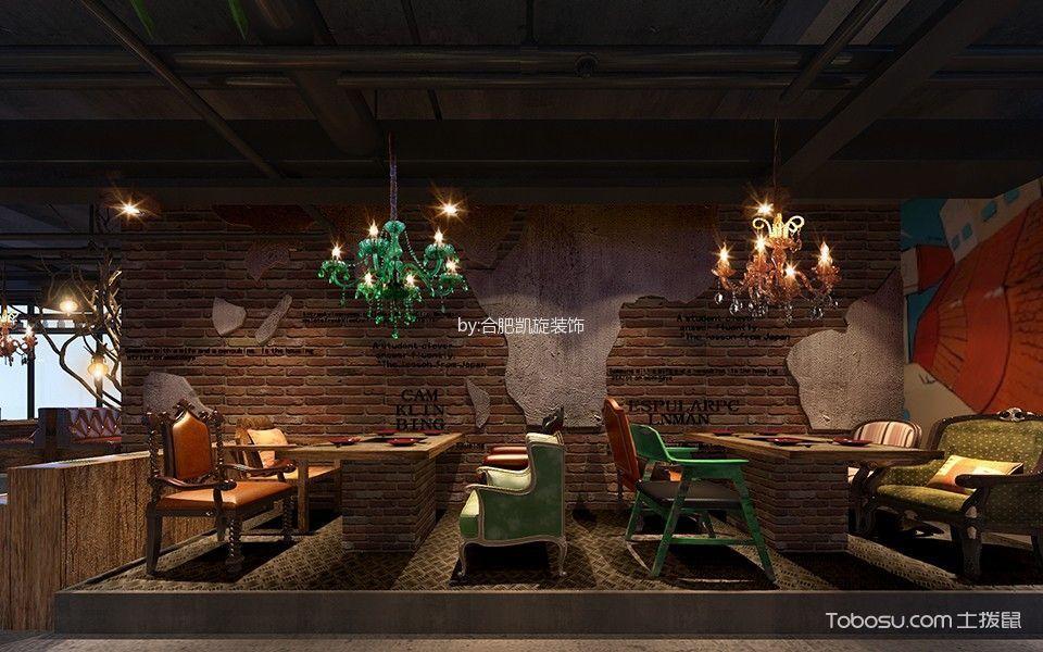 美式乡村风格火锅店背景墙装潢设计图片