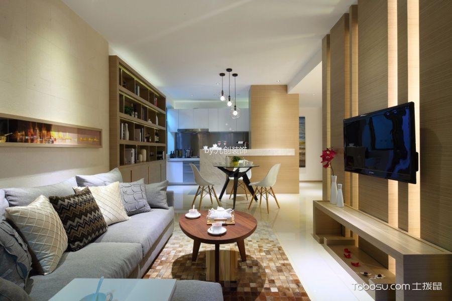 诚成尚品100平米现代简约三居室家装效果图