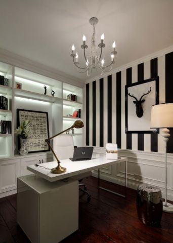 书房背景墙现代简约风格装潢效果图