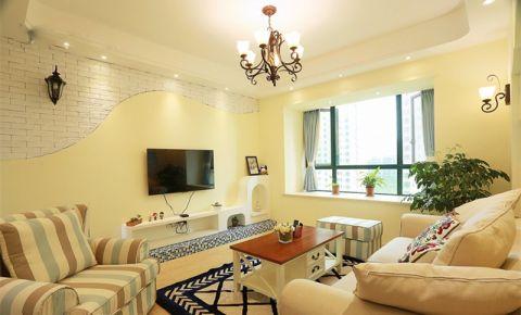 地中海风格130平米三室两厅室内装修效果图
