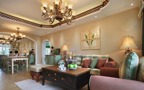田园风格120平米三室两厅室内装修效果图