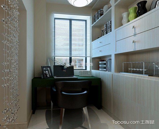 书房米色背景墙简约风格装修图片
