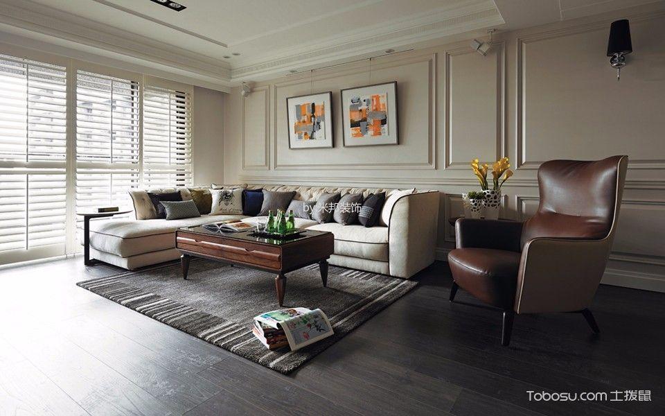 客厅 窗帘_美式风格134平米四房两厅新房装修效果图
