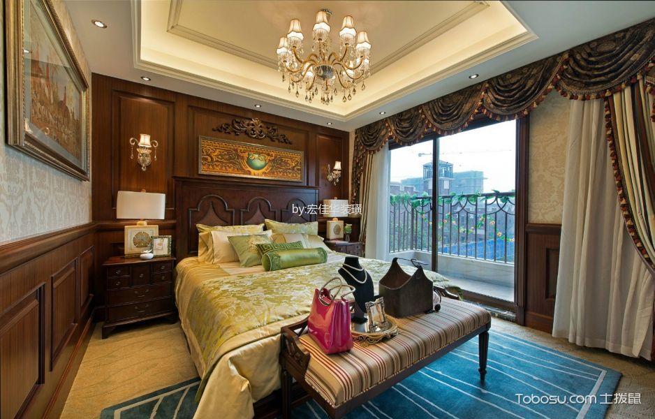 卧室 背景墙_美式风格350平米别墅新房装修效果图