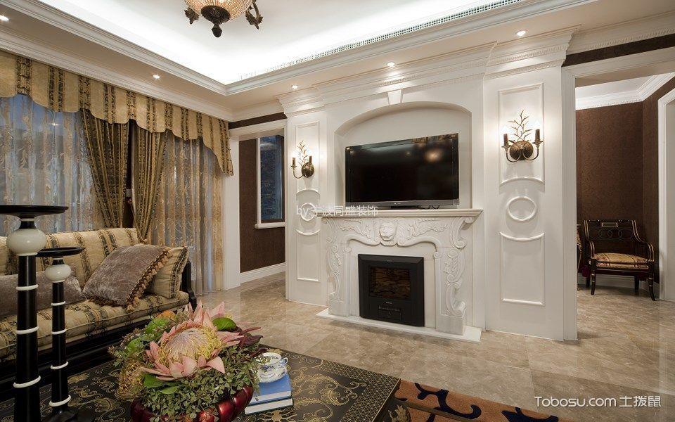 客厅白色背景墙欧式风格装修效果图图片