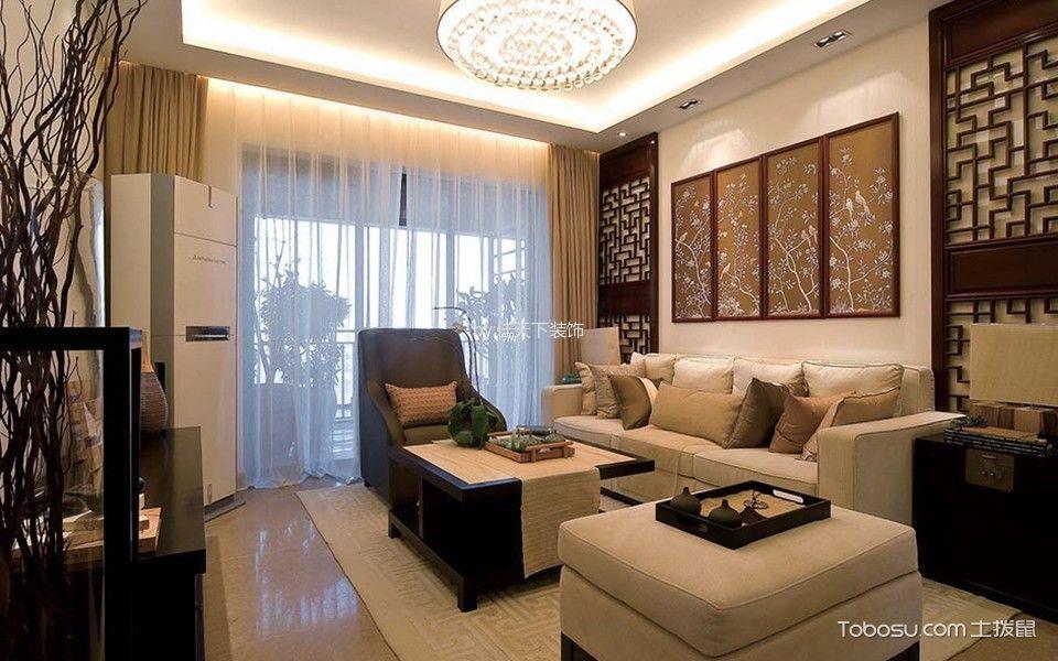 新中式风格133平米三房两厅新房装修效果图