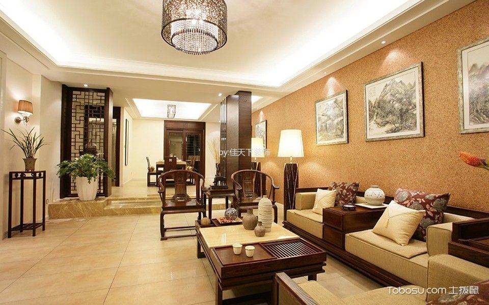 新中式风格100平米三房两厅新房装修效果图