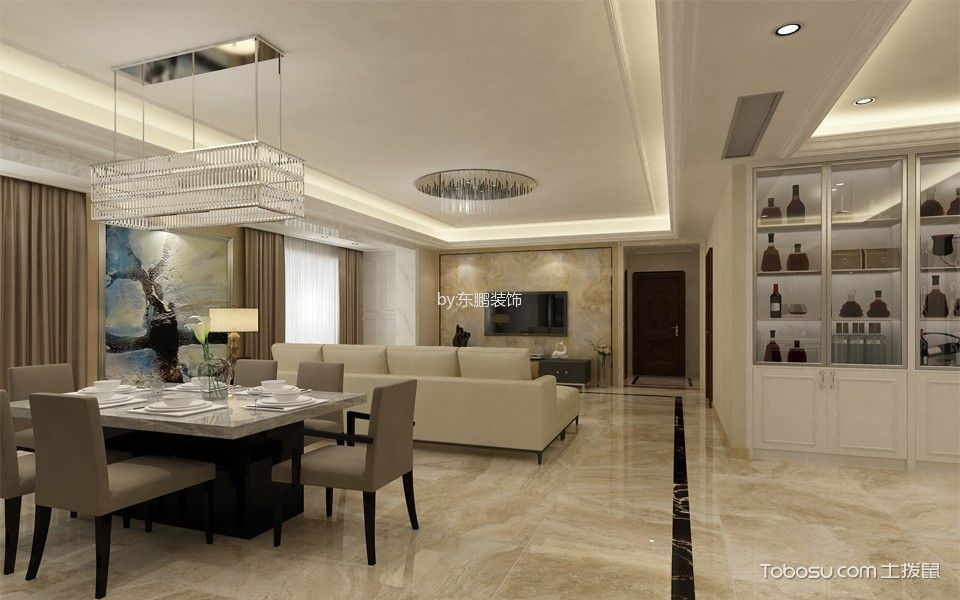 现代简约风格134平米套房房子装饰效果图