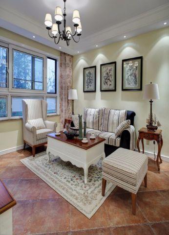 美式风格34平米三室两厅室内装修效果图