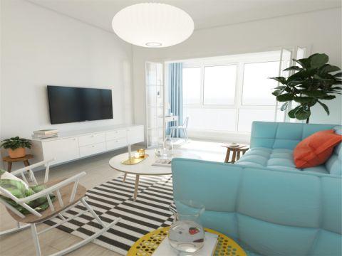 简约风格70平米两室两厅室内装修效果图